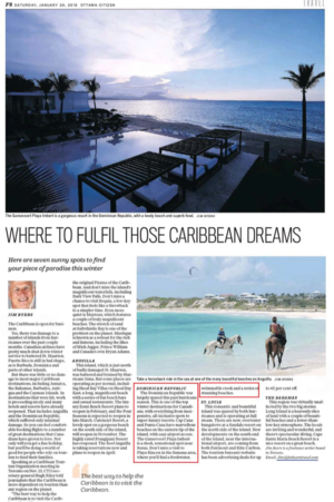 Where To Fulfil Those Caribbean Dreams<br>OTTAWA CITIZEN