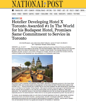 Awarded #1 In The World for Aria Budapest<br>NATIONAL POST