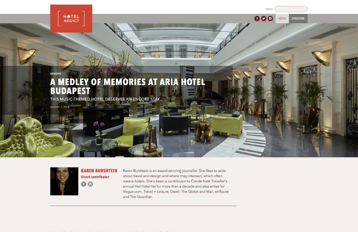 A Medley of Memories at Aria Hotel Budapest<BR> HOTEL ADDICT