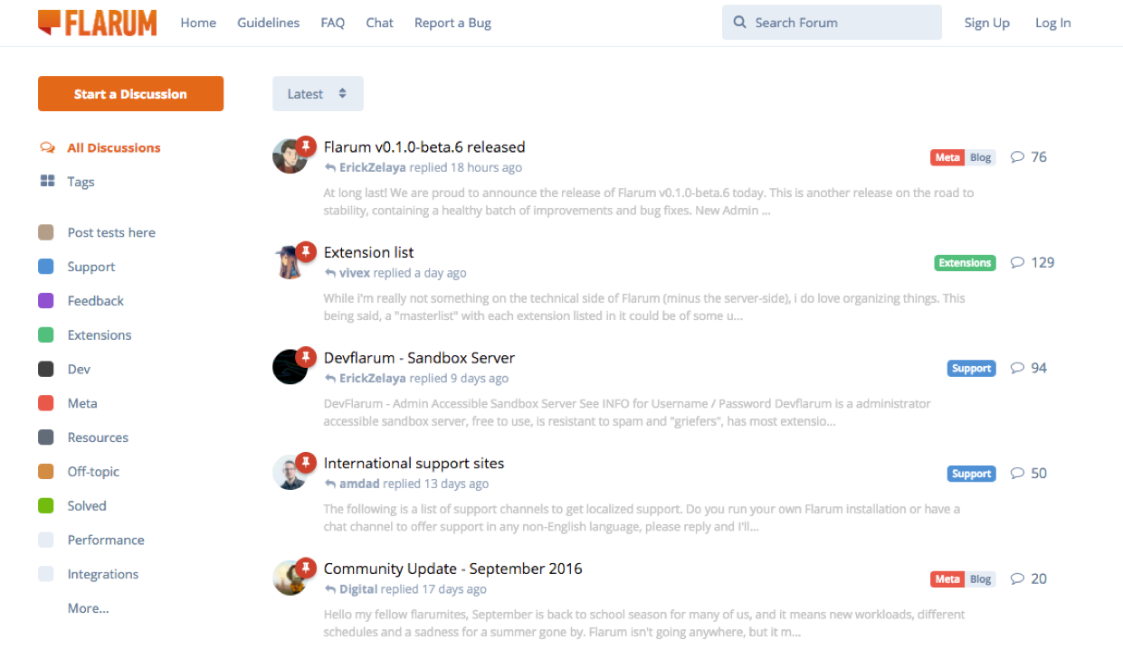 Flarum: Web template of Discussion Forum