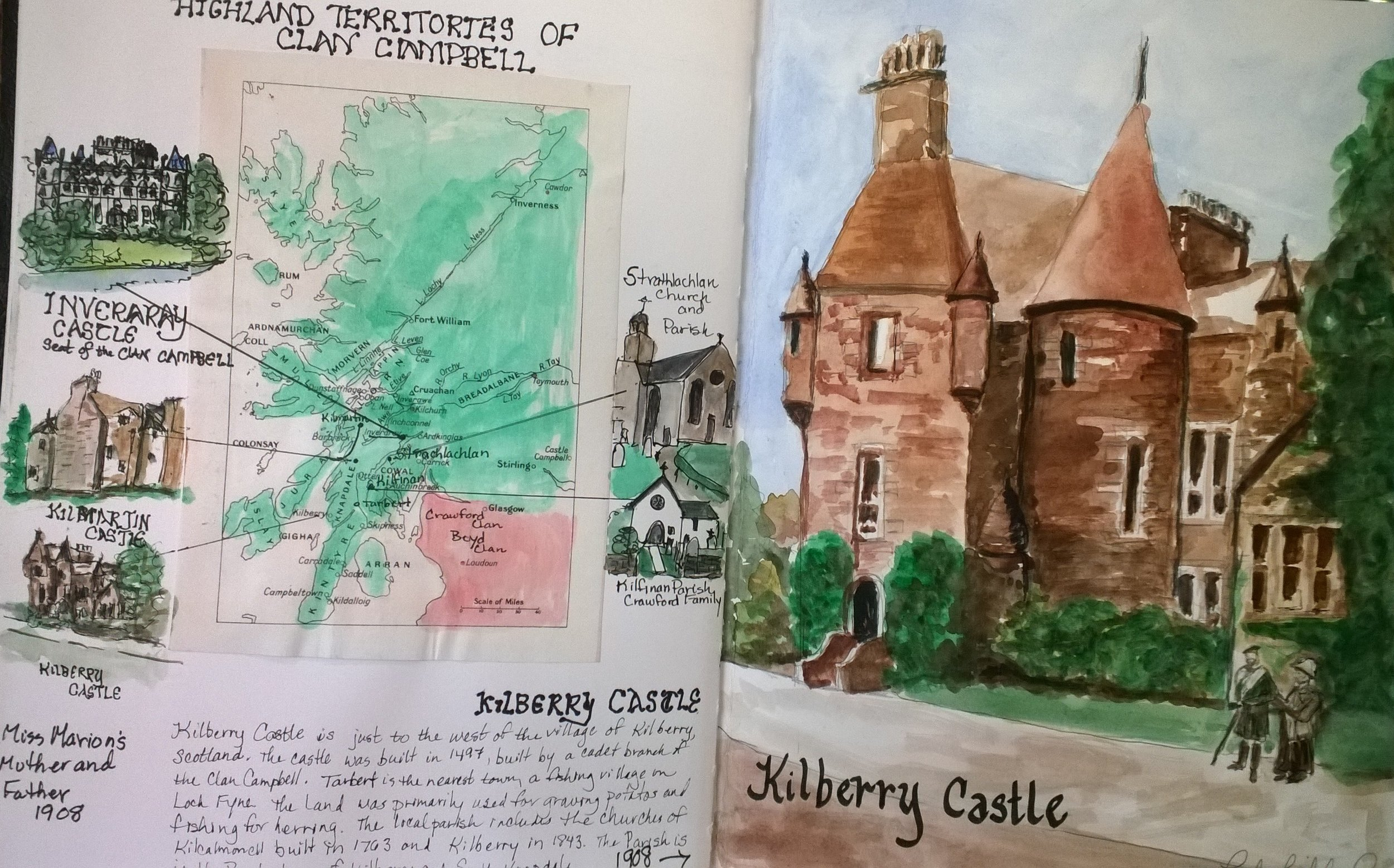 As I prepared for the trip, I starting researching the places we would visit in Scotland, with great excitement, and joined Ancestry.com.  Each name I explored led me to something else that led me to read an article about Miss Marion Campbell of Kilberry, Argyll, Scotland.  She was an authoress and archaeologist who's life work was invaluable to locating many of the great ancient markers and stones in Scotland.  I found this image of Kilberry Castle on the internet, which I painted in my sketchbook, not yet knowing how important this place was in the history of my family!