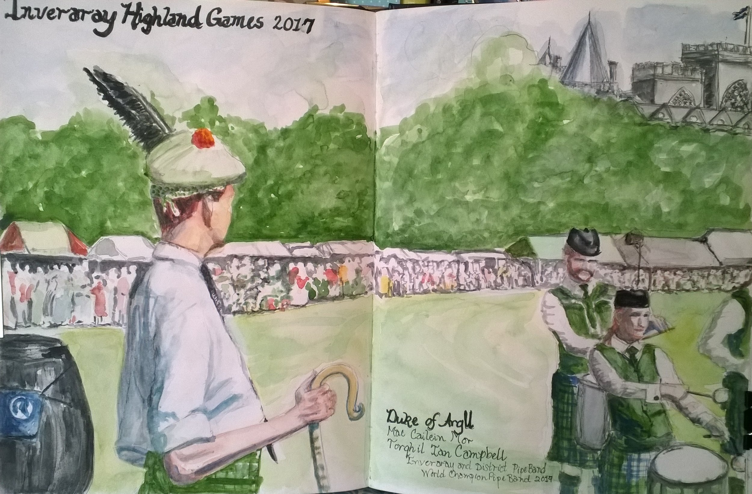 Inveraray Highland Games, Inveraray Castle, Scotland  Tuesday, July 18, 2017, we awoke in Oban, dawned our best Highland attire and headed for Inveraray. We gathered in Church Square at the head of Inveraray's main street. Excited crowds were gathering for the arrival of His Grace, the Duke of Argyll, Chief of Clan Campbell, his family, and the Inveraray & District Pipe Band (2017 World Champion). Our host, His Grace, provided us with shortbread and wee drams of Clan Campbell Scotch Whiskey. We all had the honor of meeting the His Grace and his children. What a moment that was...unforgettable! We then fell in behind the pipe band, the Duke, and his three children, Lord Archie, Lord Rory, and Lady Charlotte. We paraded through town to the park on the grounds of Inveraray Castle.  When we arrived at the park, we were special guest of His Grace, the Duke of Argyll, and were hosted in the Sponsors' Tent. There we met Her Grace, the Duchess of Argyll! The Inveraray Highland Games included several piping and highland dancing competitions, track and filed, heavy events, wrestling, cycling, and the World Champion Caber Championship. There were great food tents (I had a delicious venison burger), and vendors' tents with beautiful highland crafts.I joined the Friends of the Argyll Papers (which benefits the preservation of the Argyll Archives) at their tent.  My Campbell Cousin, Marie, her husband, Don, and I took a second tour of Inveraray Castle. The guides gave us private access to the main rooms as we soaked in the gorgeous ambiance, and incredible history of our Clan Campbell castle! This day will always be remembered as a day of family, honor, and celebration for me! Thank you, Your Graces,Duke and Duchess of Argyll for one of the most amazing days of my life!