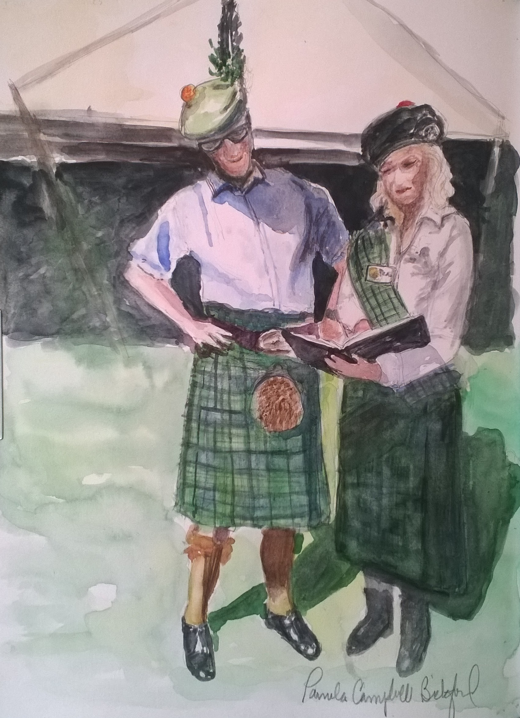 During the Inveraray Highland Games, I had the great honor to have another moment with His Grace, the 13th Duke of Argyll, when I was able to share with him my Scotland Sketchbook, and my family connection to Clan Campbell. The Duke graciously agreed to autograph my pages with the painting of Inveraray Castle! What a family treasure this book will be!  How does one summarize in a few words over 800 years of the Campbell Clan and their Chiefs? It is challenging, but here is my best attempt! Surprisingly, the first Campbells were thought to be from England, in the kingdom of Strathclyde, sent to Scotland to protect the king's lands. The Campbell Chiefs take their Gaelic name, Mac Cailein Mor, from Colin Mor Campbell, who died in 1296 in a dispute with the MadDougalls of Lorne. His son, Sir Neil Campbell was friend and brother-n-law of King Robert the Bruce. Sir Neil's son, Sir Colin Campbell was rewarded by Robert the Bruce with land in the Western Highlands, and soon became the most powerful family in this area of Scotland. Down through the centuries,the Clan Campbell Chiefs, descending from knights,were given additional lands and titles of Earl of Argyll, to ColinCampbell in 1477, then to duke with Archibald Campbell, 10th Earl and 1st Duke of Argyll down to our present day Torquhil Campbell, 13th Duke of Argyll born 1968. In American terms, he is the patriarch of my extended Campbell family!