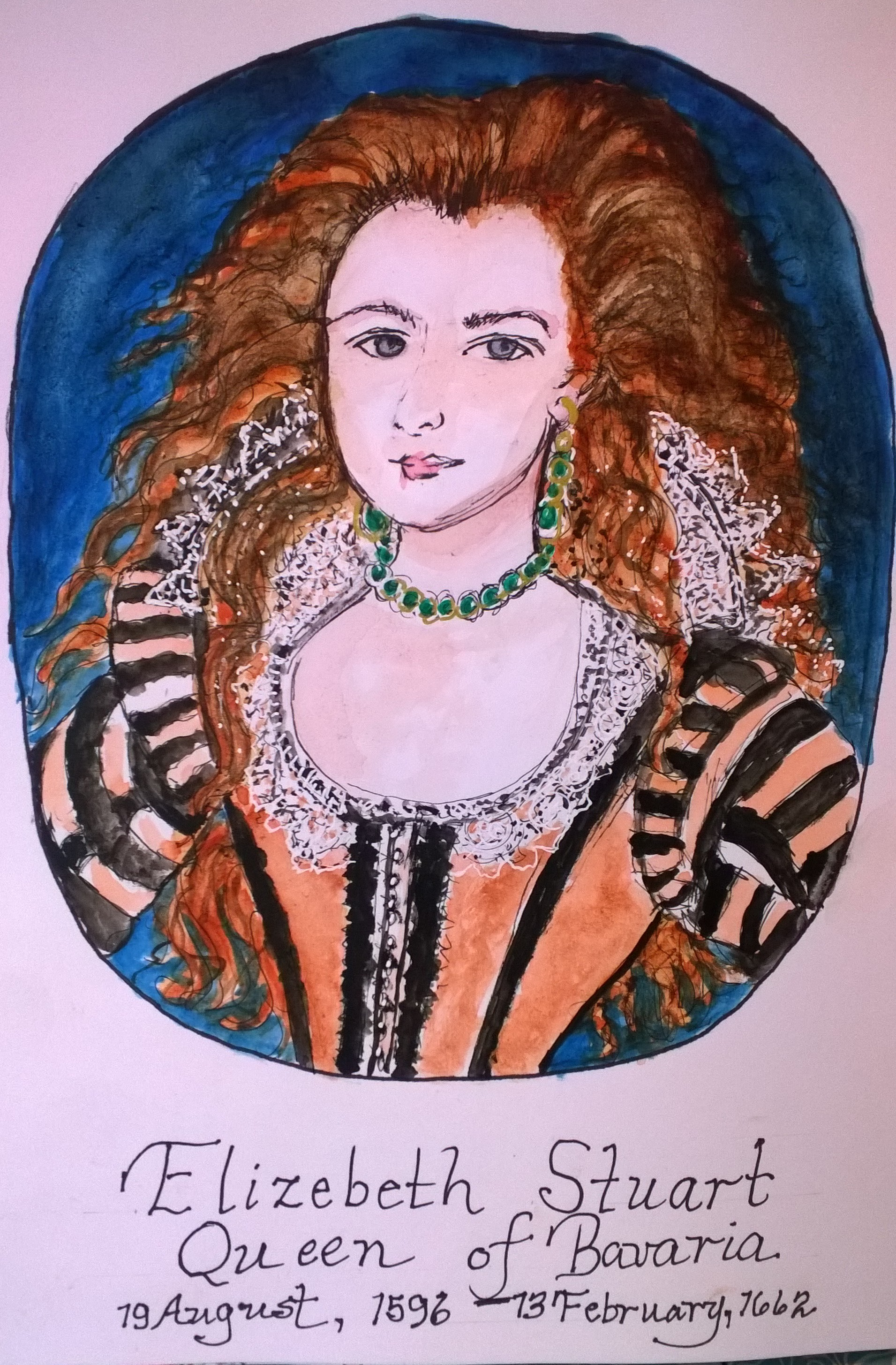 Here she is, Elizabeth Stuart, Queen of Barvaria , (1596-1662), becase queen when her husband, Frederick V was elected as King of Bavaria in 1619 and he was defeated in battke at the beginning of the 30 Year War at the start of the Reformation in 1620.  Elizabeth Stuart was gifted the glorious gate at Heidelberg Castle as a birhtday present for his beloved wife. She was the granddaughter of Mary, Queen of Scots, and daughter of James I of England (James VI of Scotland). Elizabeth and Frederick V of Bavaria were married to each other at the young age of 16, February 14, 1613 in London, stayed in England 2 months, then headed to the Electoral Court of Heidelberg in 1613.  The couple had 13 children, and when Frederick died at age 38 of fever, Elizabeth was devastated. She was exiled to the Hague, then returned to England in 1661, and died of pneumonia in 1662. What a life story of a princess of both Scotland and England, then Queen of Bavaria!