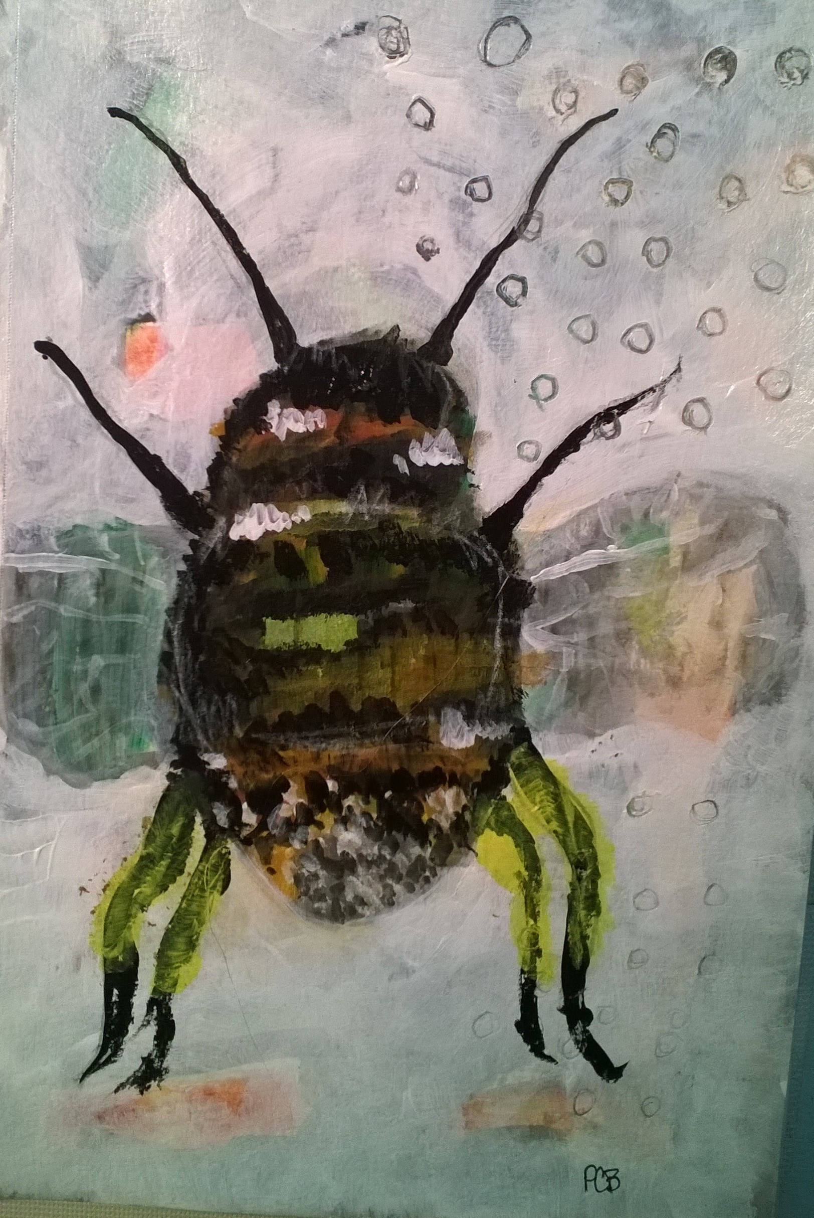 This chunky bumblebee is a play with acrylic paints that I had in a lesson taught by Micki Wilde. This was so much fun! This was an online course I found on Sketchbook Skool called Whisical Sketching. I've always loved bumblebees keeping me company in the garden!