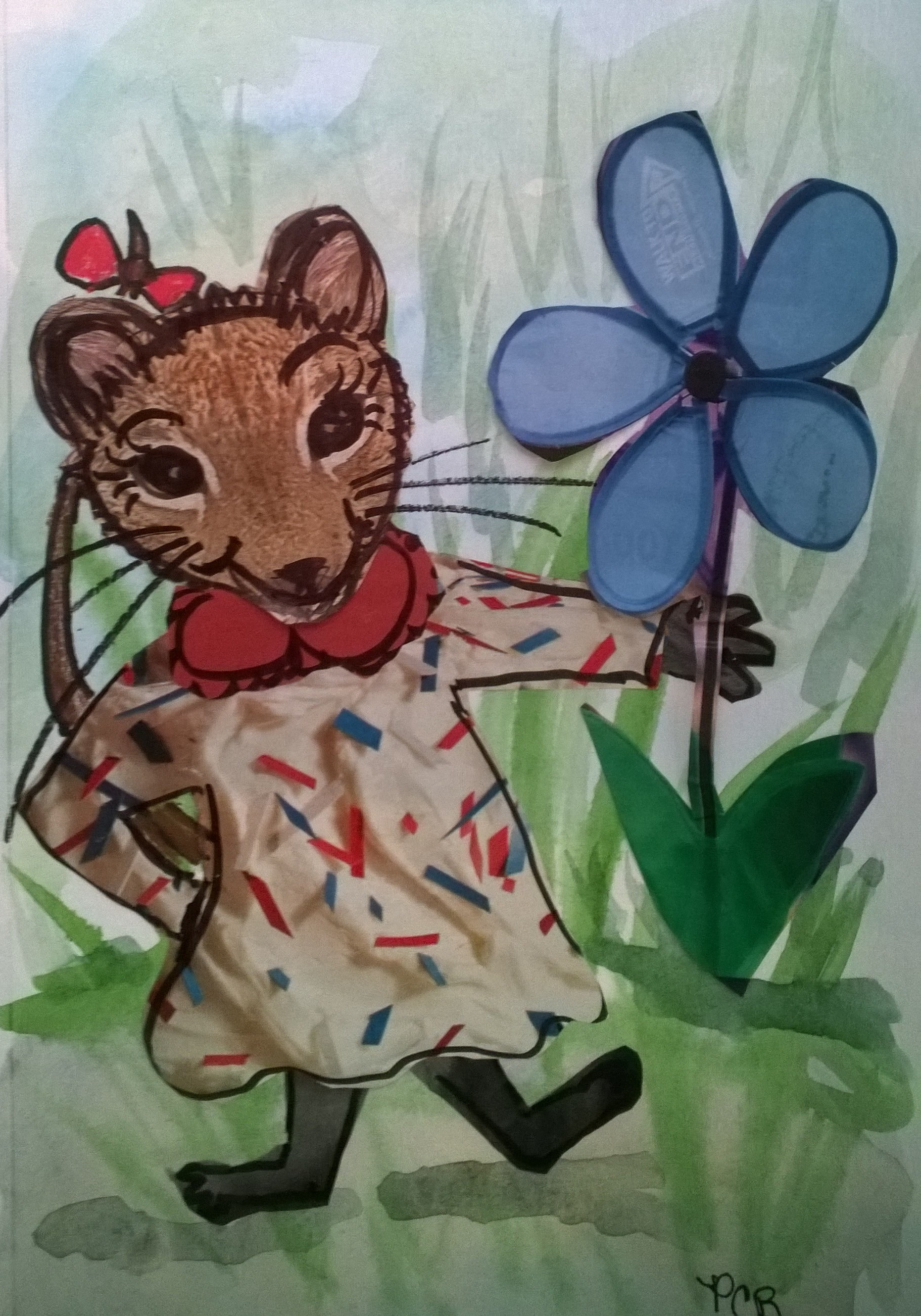 Trying more ways of doing whimsical with paper collage, water color, colored pencil, and pen and ink!