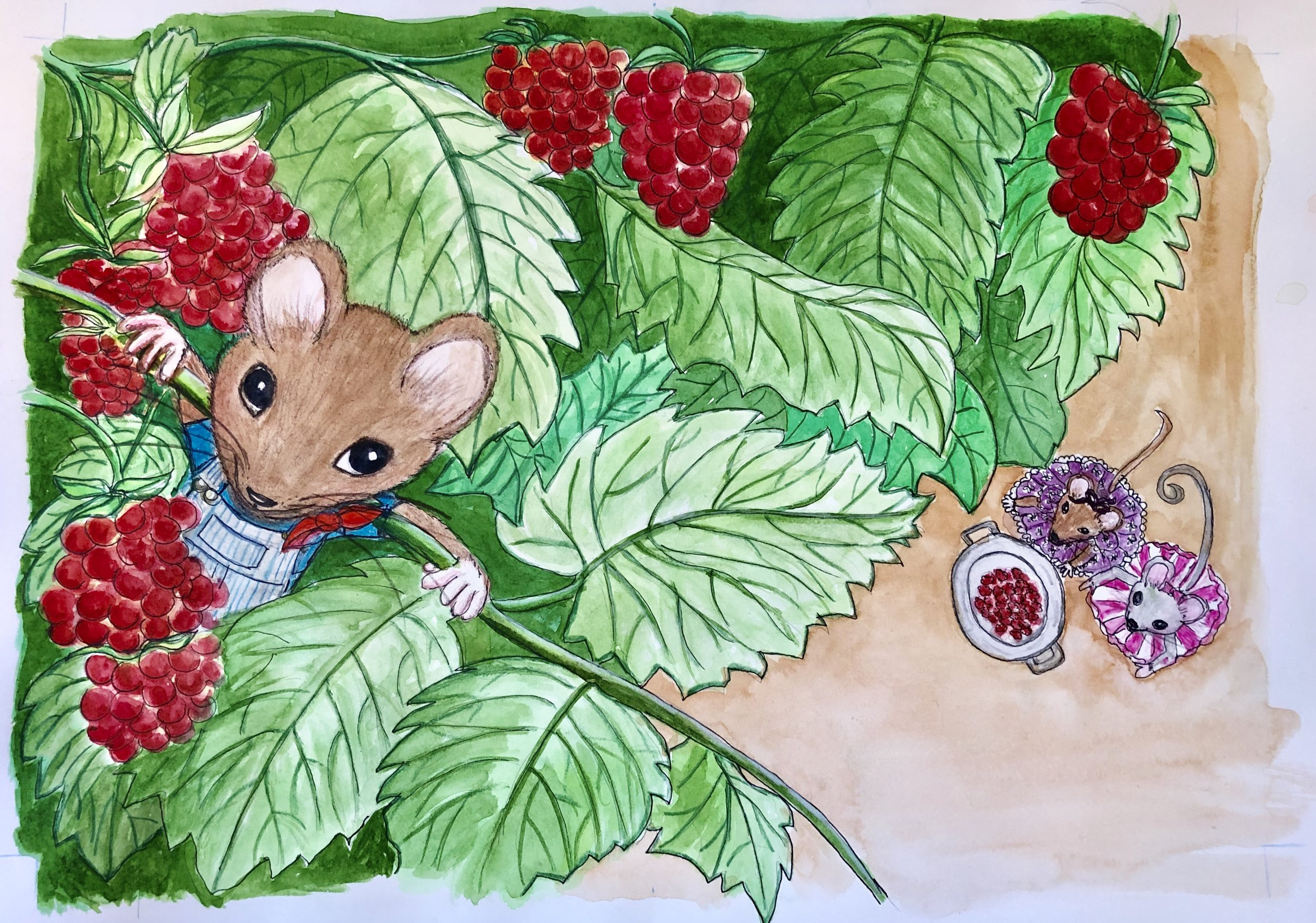 Morely is so adventureous and thinks that he won't be seen by the crows circling over the garden!  He's just about finished picking all raspberries!  What will he do next?