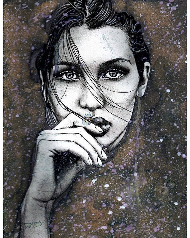 -Why are you so sad? -Because you speak to me in words and I look at you with feelings.  My charcoal and watercolour rendition of the beautiful @bellahadid 🥀#charcoal #charcoaldrawing #charcoalportrait #portraitdrawing #arts_help #art_empire #arts_hype #art_worldly #artistic_discover #artistic_support #artistic_unity_ #artistic_share #artist_4_shoutout #artistic_nation #art_collective #art_spotlight #artbrilliants #artfido #artisticcommunity #artisticnation #worldofartists #artrealism #worldofpencils #sketchdaily #beautiful #love_arts_help #fashion #fashionmodel #bellahadid