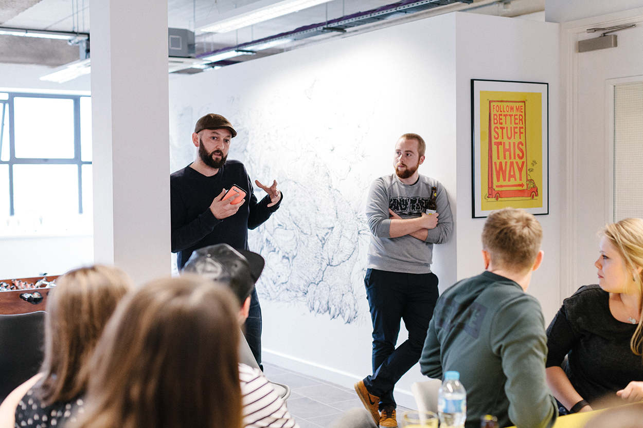 Jamie Gallagher from  Hello  with Sam Edwards from  Taxi Studio  talking through work process.