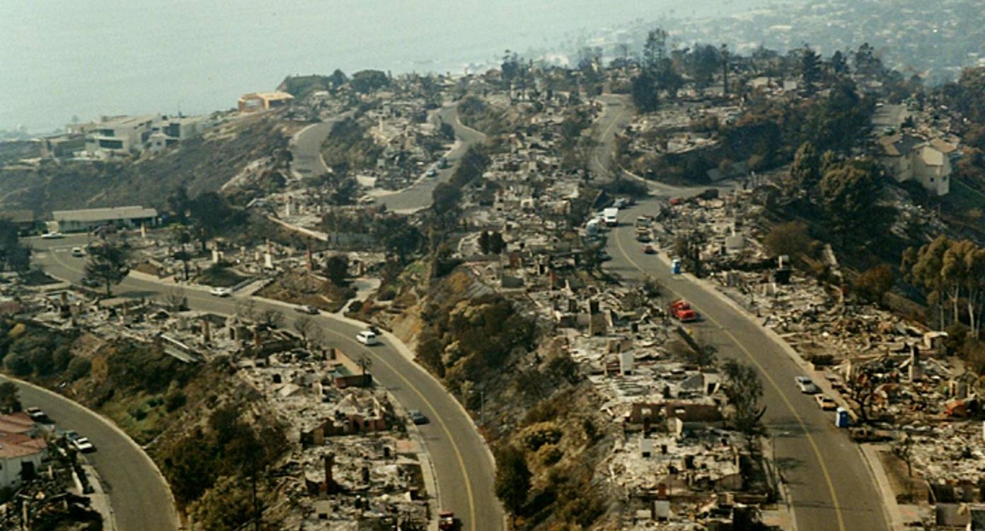 Photograph of Skyline neighborhood after 1993 Laguna Beach Fire