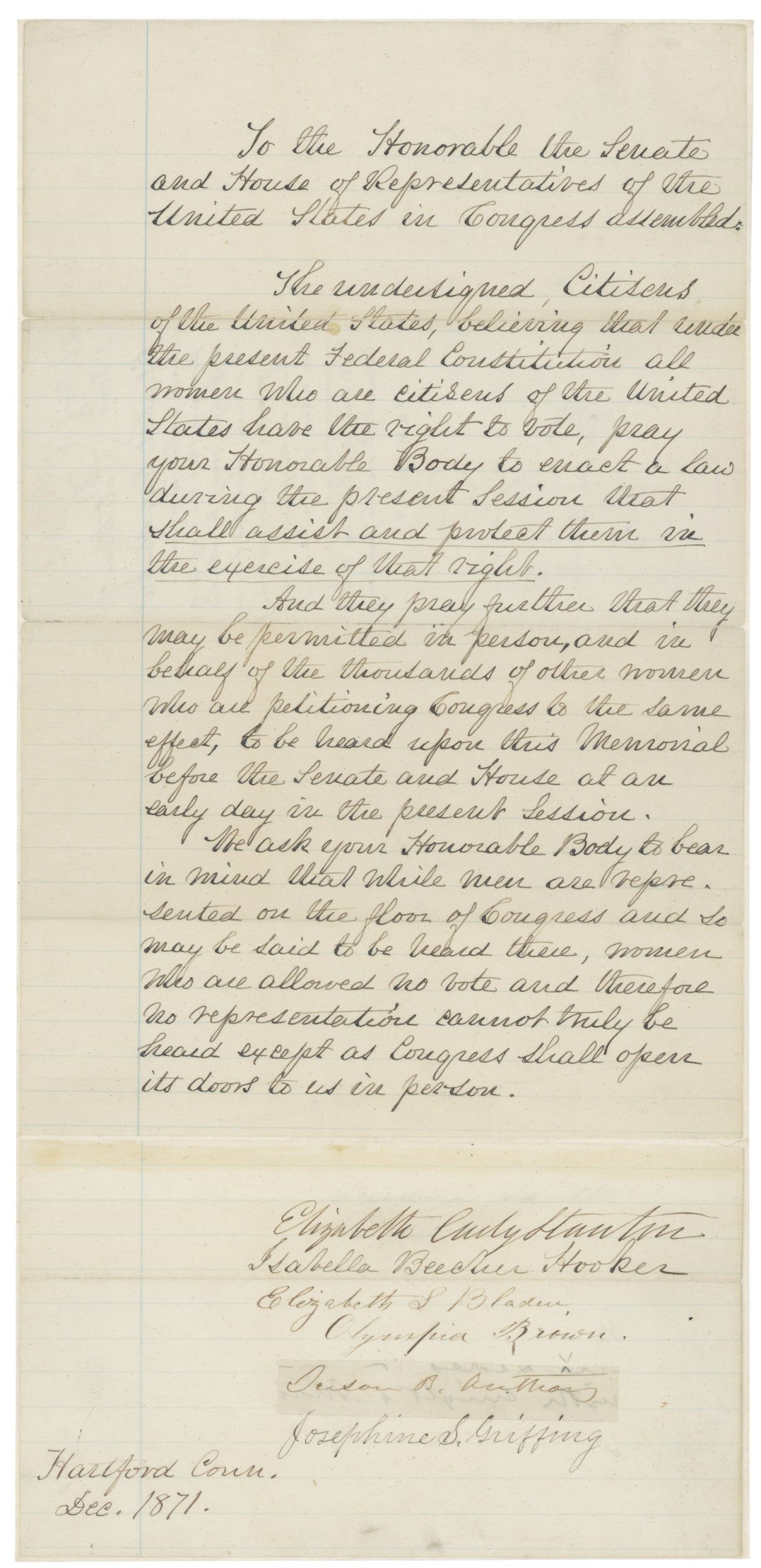 Letter to Congress from Elizabeth Cady Stanton, Susan B. Anthony and Others in Support of Women's Suffrage