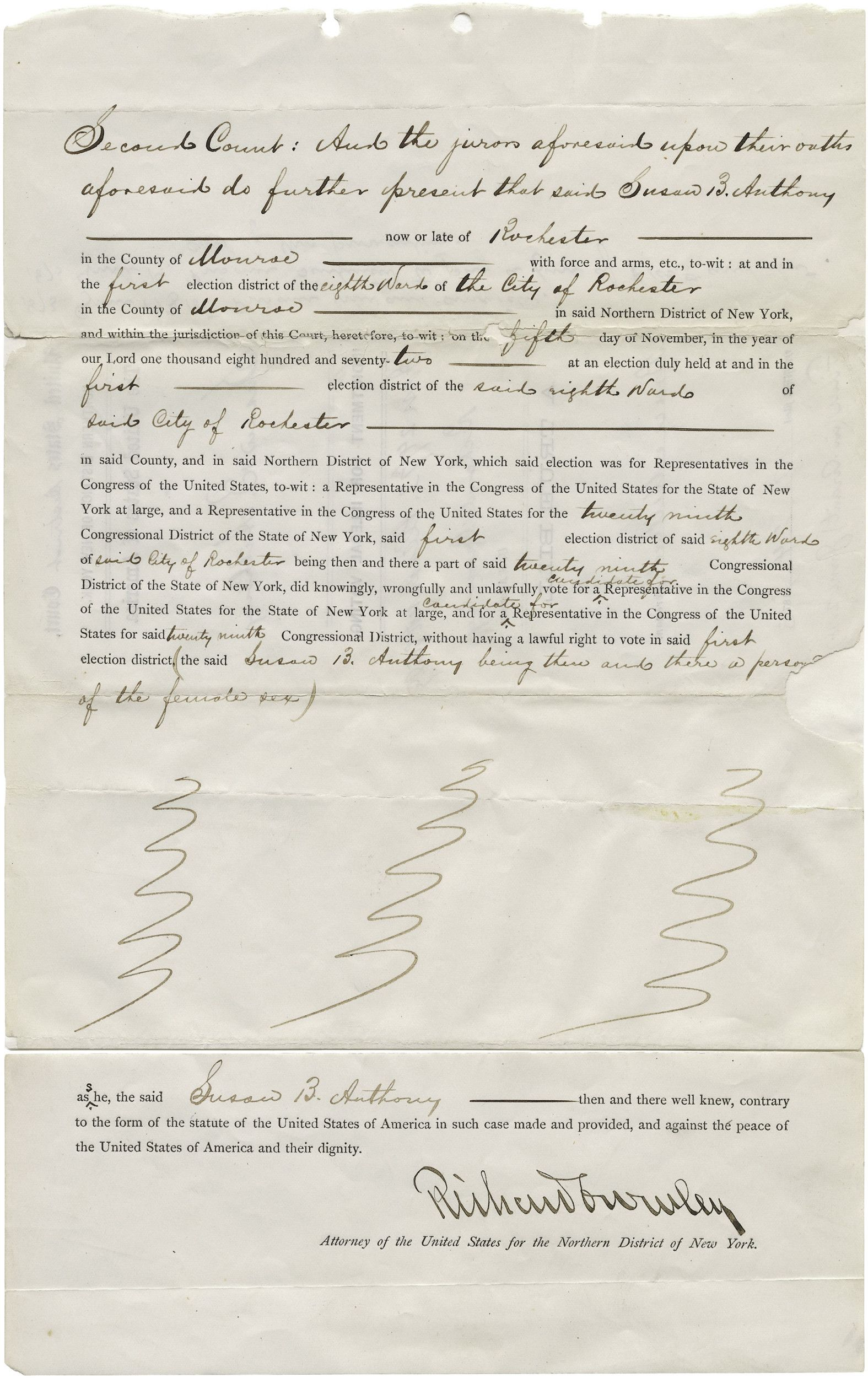 Indictment for Susan B. Anthony for Illegal Voting