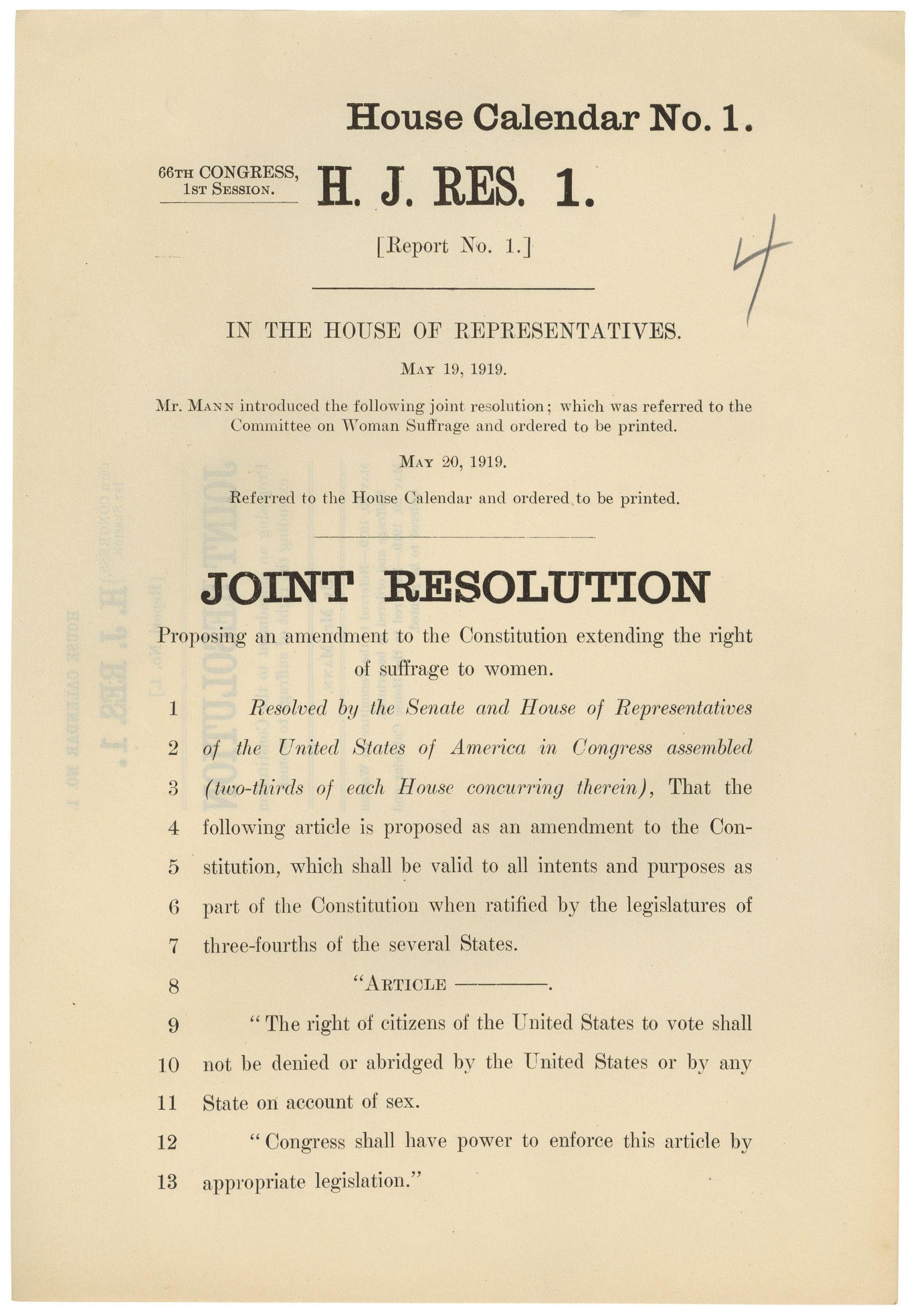 House Joint Resolution Regarding the 19th Amendment