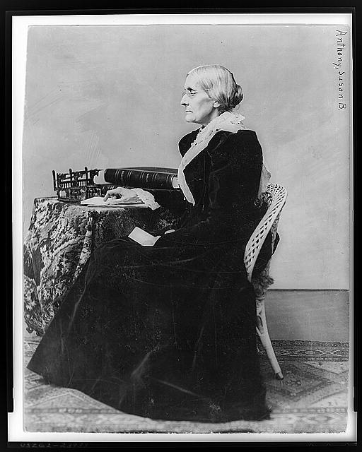 Susan B. Anthony, full-length portrait, seated, facing left