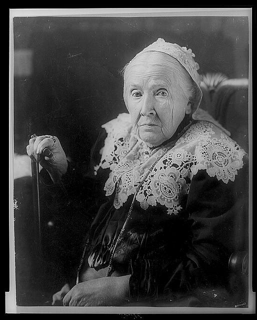 Julia Ward Howe, half-length portrait, seated, facing left