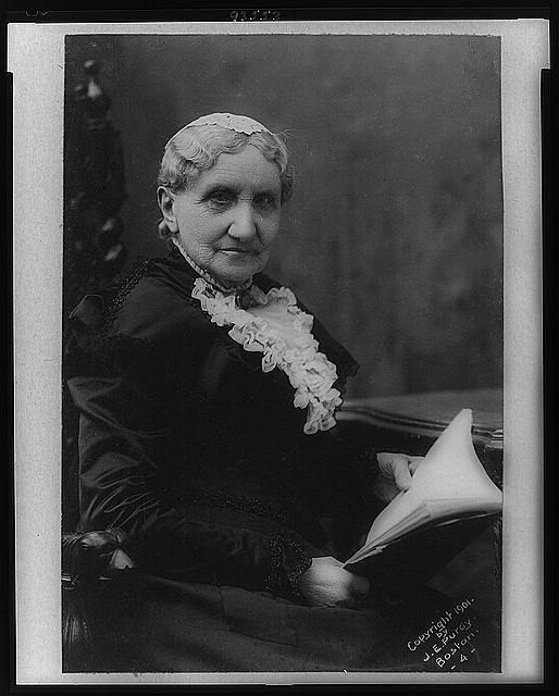 Mary A. Livermore, half-length portrait, seated, facing right