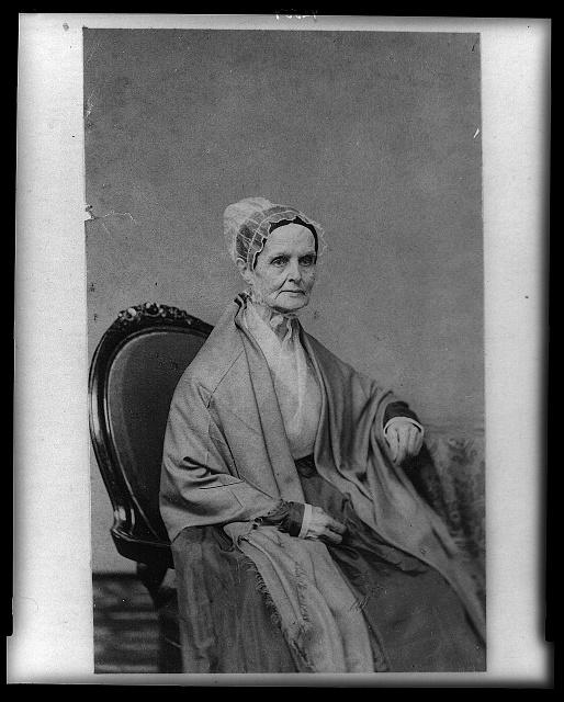 Lucretia (Coffin) Mott, three-quarter length portrait, seated, facing right