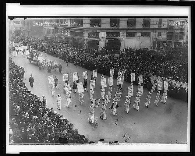 Suffragists marching, probably in New York City in [1915]