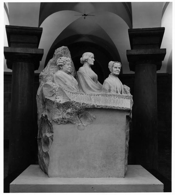 Marble statue of three suffragists by Adelaide Johnson in the Capitol crypt, Washington, D.C.