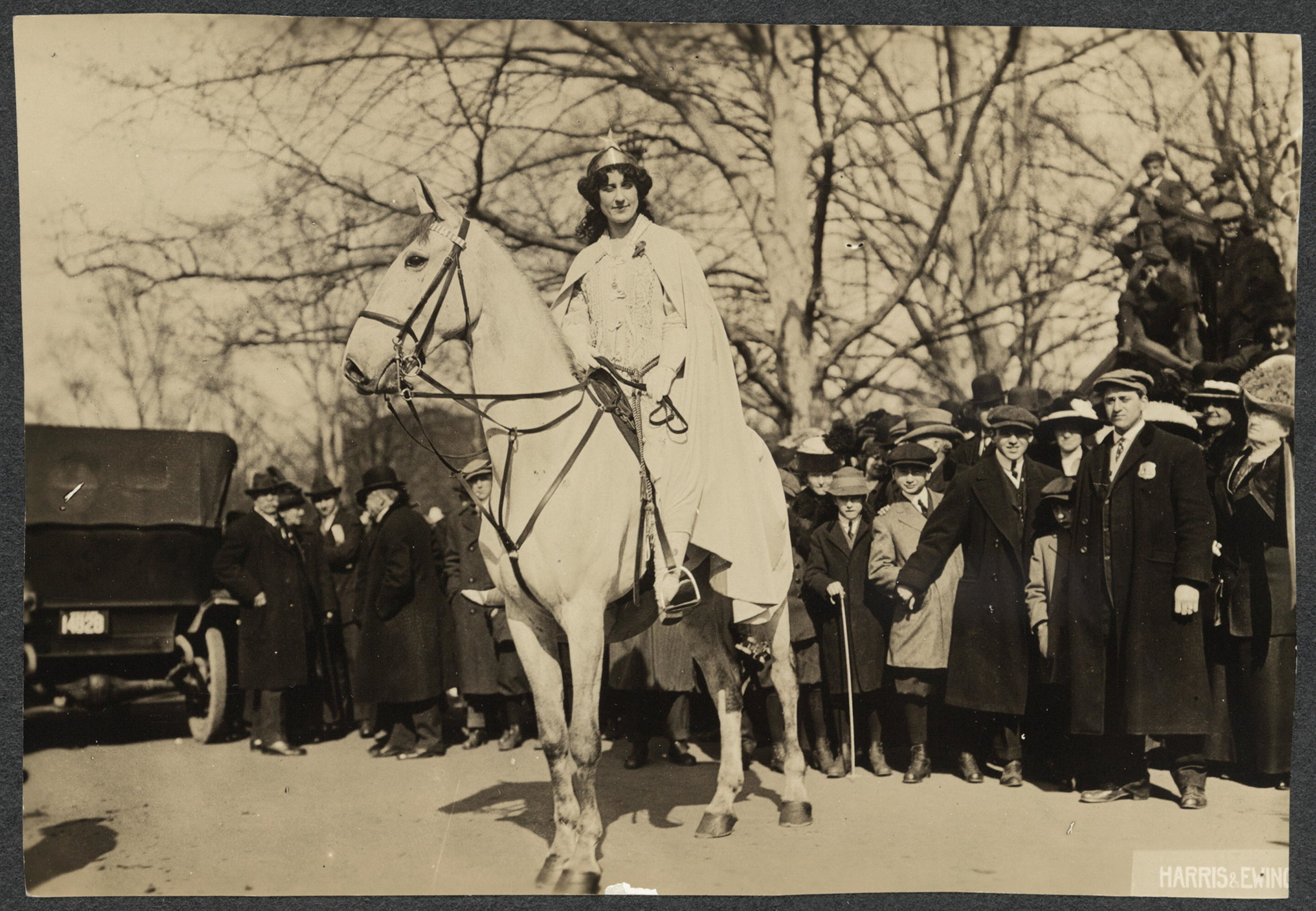 Inez Milholland Boissevain preparing to lead the March 3, 1913, suffrage parade in Washington, D.C.