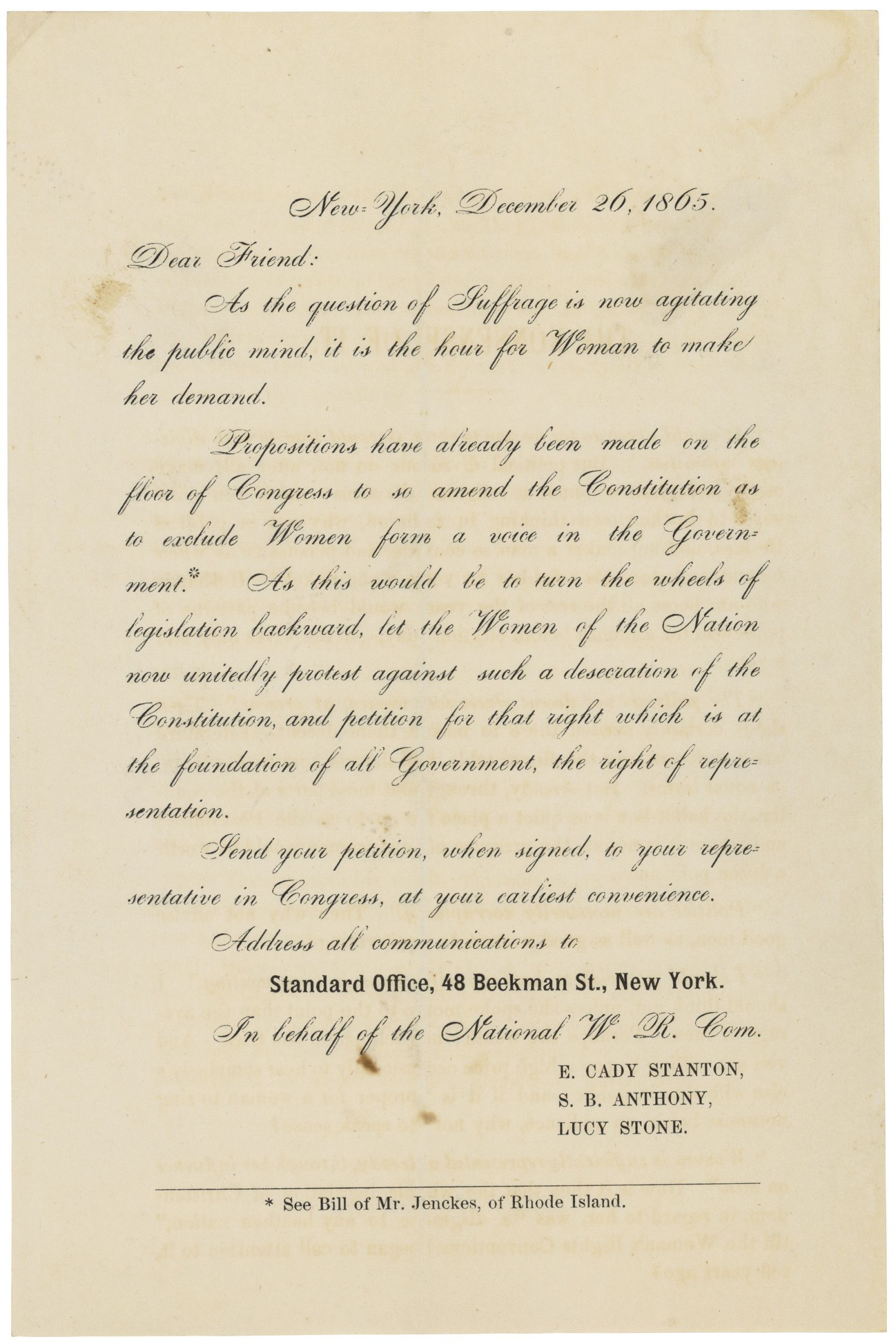Form Letter from E. Cady Stanton, Susan B. Anthony, and Lucy Stone