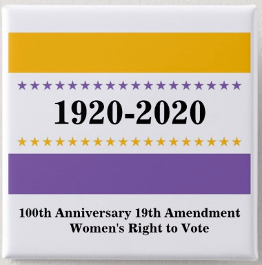 Product: Women's Right to Vote 19th Amendment Victory Flag Button    Vendor: suffragettecity100