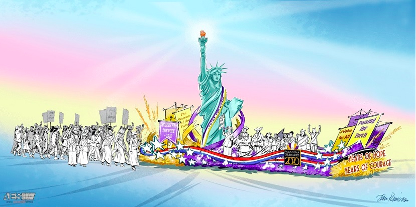 The Centennial of Women's Right to Vote Takes Off with a Celebration Float in the 2020 Rose Parade