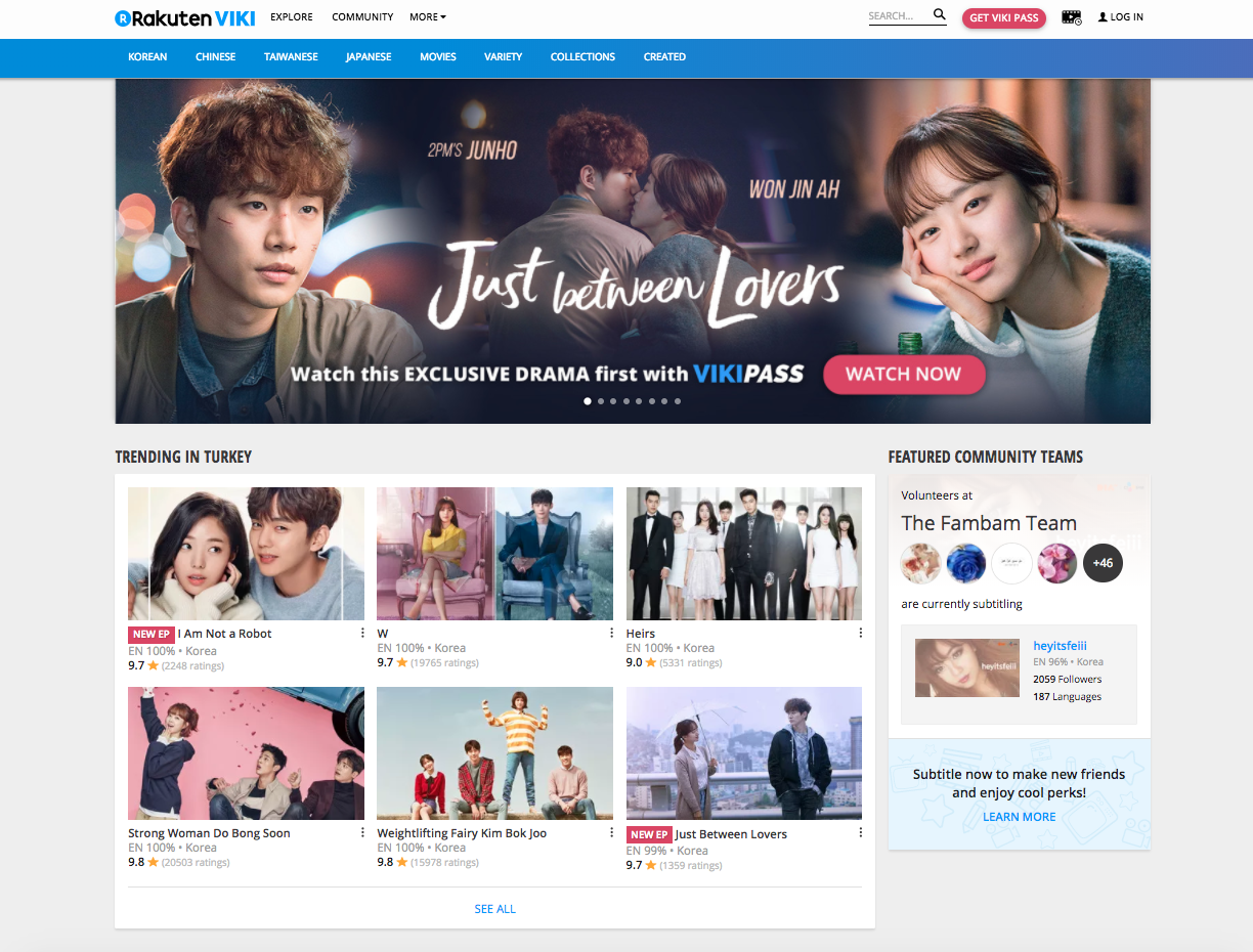 Screenshot of Viki's homepage