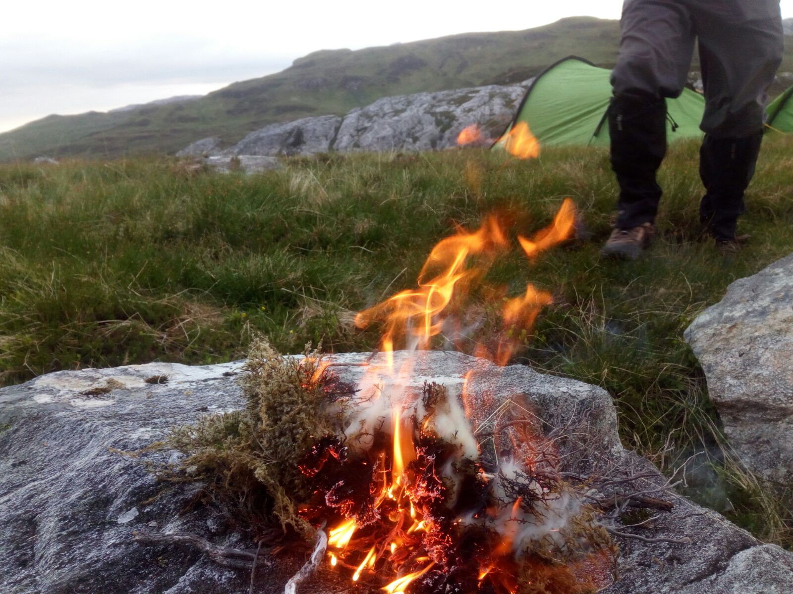 Fire on wild camp, Scottish tours with walks, small group adventures, Roaming Scotland.jpg