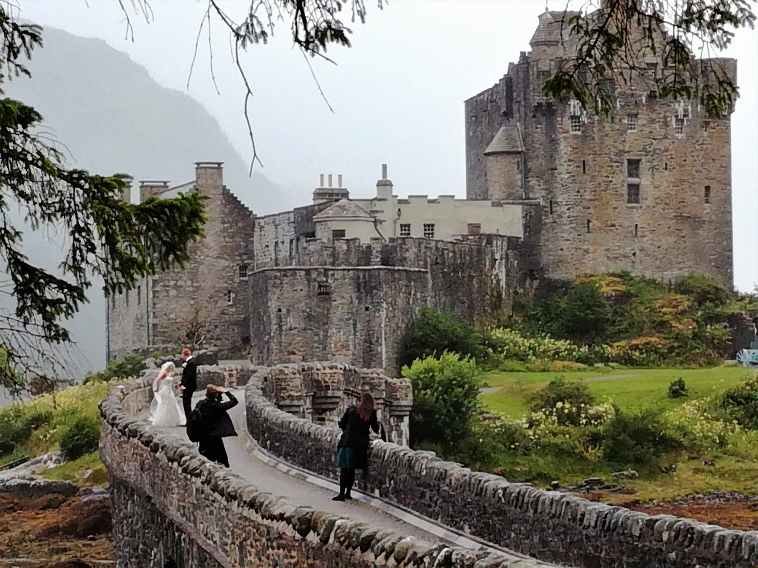 We chanced upon a wedding shoot at Eilean Donan castle complete with misty backdrop.