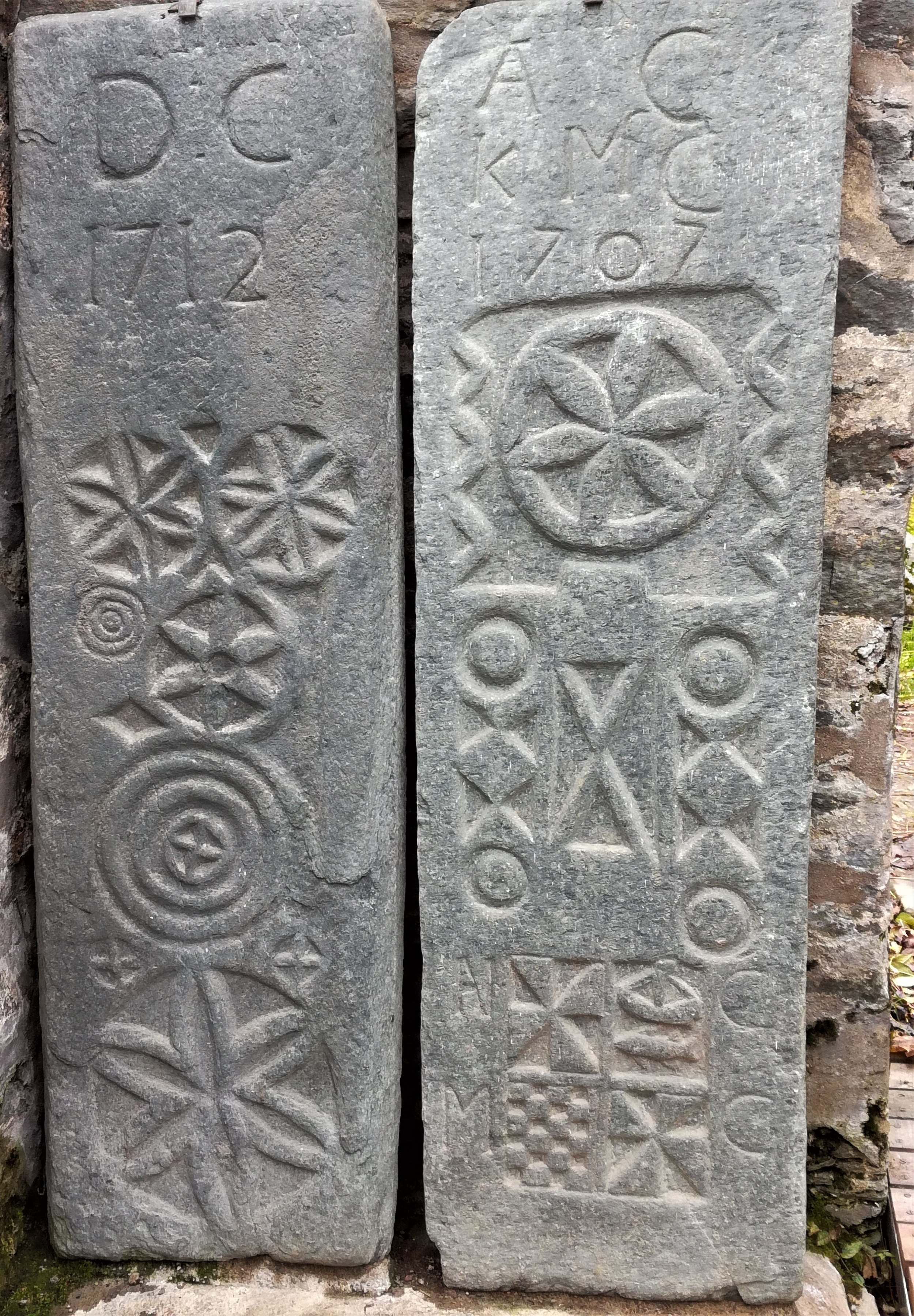 Celtic engraved stone slabs,tours with walks, small group adventures, Roaming Scotland .jpg