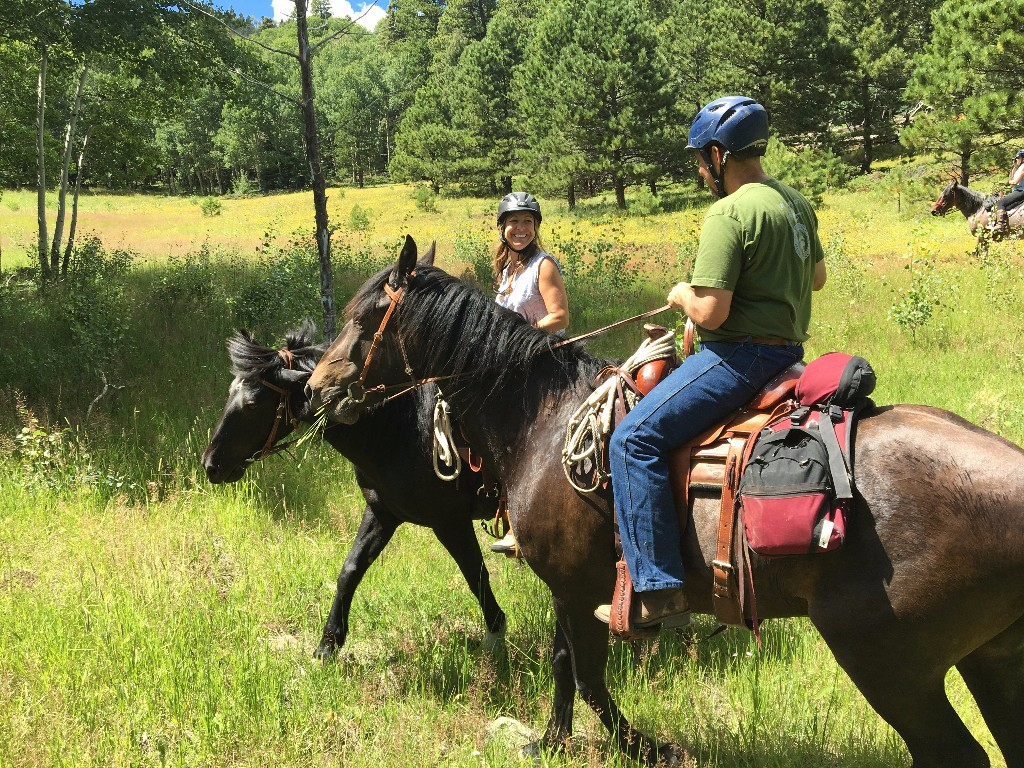 Amy and Luna, Eric and Diego near Goat Creek in the Sangre de Cristo Mountains
