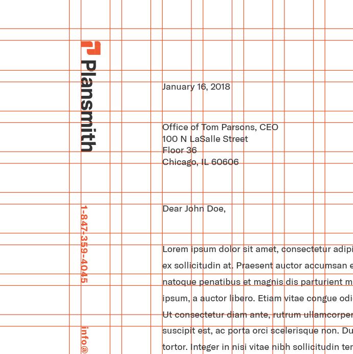 Underlying grid detail based on logo construction system