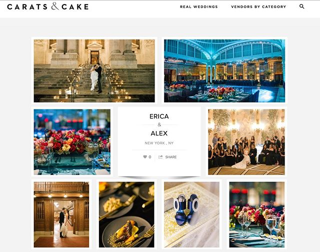 Delighted to see Erica + Alex spectacular wedding on #caratsandcake today! Made possible by the dream team #susanhollandevents #nypl #eileensspecialcheesecake #saksfifthavenue #lucaswalter #manoloblahnik #creativeedgeparties #katiefischerdesign #elementmusic