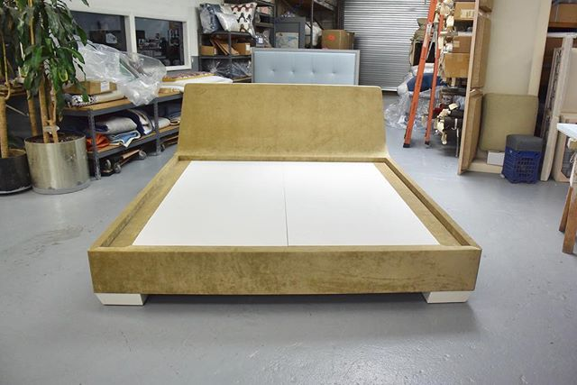 Custom king size platform bed. The headboard gets narrower and less thick as it gets taller. The gap between the mattress cavity and headboard is for box pillows to sit in between the mattress and headboard. The headboard has pitch on the inside of the headboard for additional comfort. #decor #interiordesign #handcrafted #interiordecor #interiordecorating #homedecor