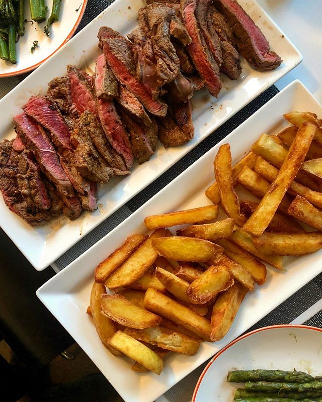 """""""I'll do us steak and chips"""" said @ruddofcumbria when we had @theobamber coming over for dinner last night. What that translated as was beautiful tagliata-style rump with a mountain of his extraordinary triple-cooked chips, which are genuinely the best chips I've ever tasted, anywhere. Our guest brought a few bottles of a fantastic Corbières, and I...well I made a salad. Then had the leftovers for lunch today."""