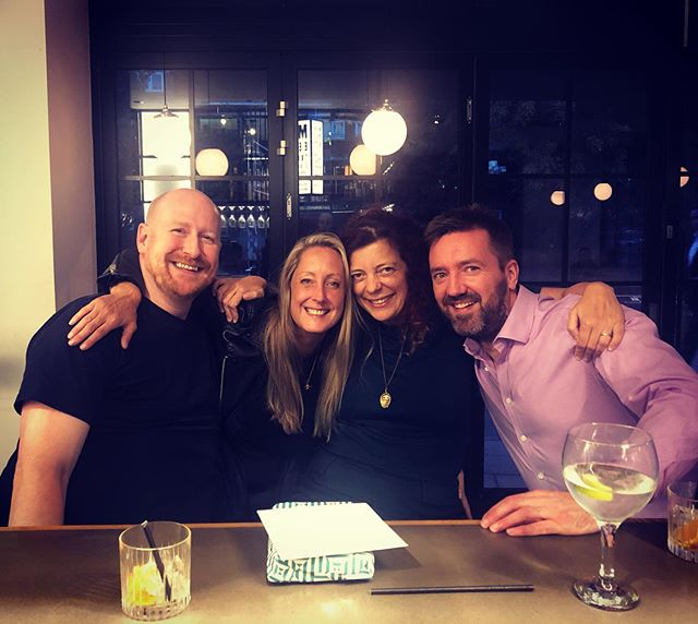 This pic makes me so happy, not just as a reminder of a wonderful evening with @cjt_2017 @thealicrock & @burman.simon which involved an incredible dinner at @kudu_restaurant bookended with drinks at @meetdistrict, but also for the friendships it represents. I met Ali at university in 1994, then Caroline and Simon in around 2000; Simon and I met when were dating two flatmates, and one of them worked with Caroline and we just sort of adopted her. Ali and Simon met at a birthday party of mine, discovered they were neighbours and are now friends in their own right; last night was the first time we'd all been out together. I know how lucky I am to have friendships going back so far; to still all be having fun after all this time is the best feeling in the world. Anyway: that's enough sentimentality, go to Kudu, it's fucking brilliant, and Meet District is a very nice spot for drinks before or after (or in our case, before and after.)