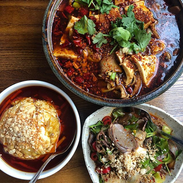 SUCH a good lunch at The Sichuan on City Road with @adamlawrence86_ today. Ever since @gilescoren & @jayrayner1 gave it rave reviews just weeks apart in 2016 it's been on THE LIST, but as is so often the case it's taken this long to actually get there. It was absolutely worth the wait; we enjoyed (clockwise from top) 'Assorted meat in fiery sauce', Man & wife sliced offal and 'Mouth-watering chicken' served cold, as well as Ma la wontons. With rice, two beers each and service it wasn't even £35/head; with a group you'd probably spend even less as portions are VERY generous. Sichuanese is one of my favourite cuisines and this is definitely a great, affordable place to enjoy it.