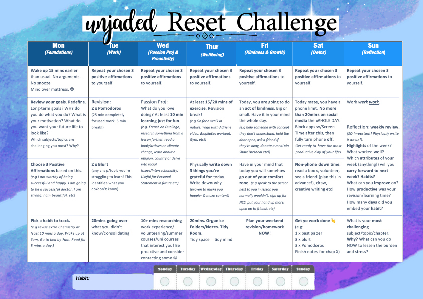 Click the timetable to download a printable pdf of the challenge!
