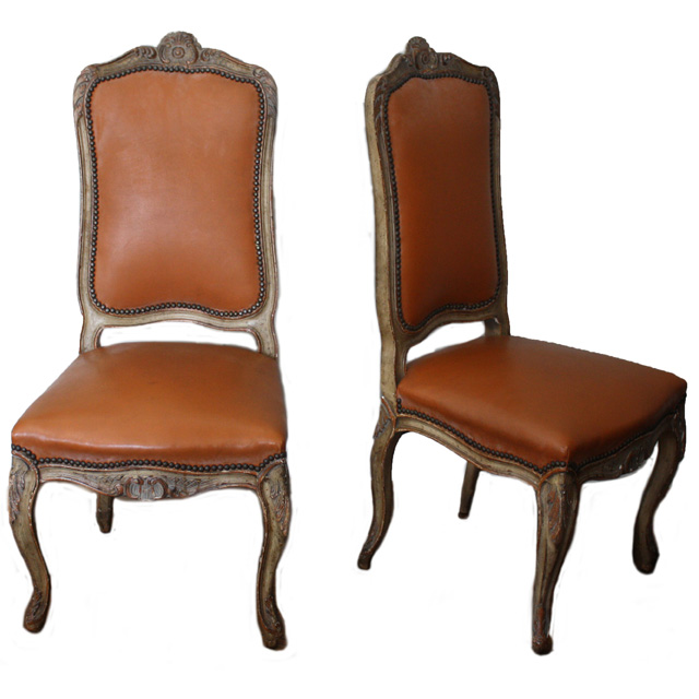 Pair of Louis XVI Leather Chairs with Nailhead
