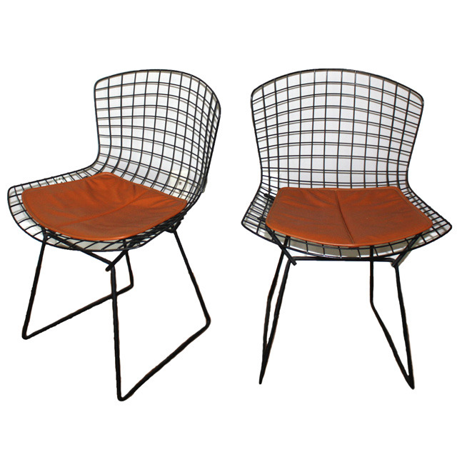 Pair of Knoll Bertoia Chairs with Original Knoll Leather Pad