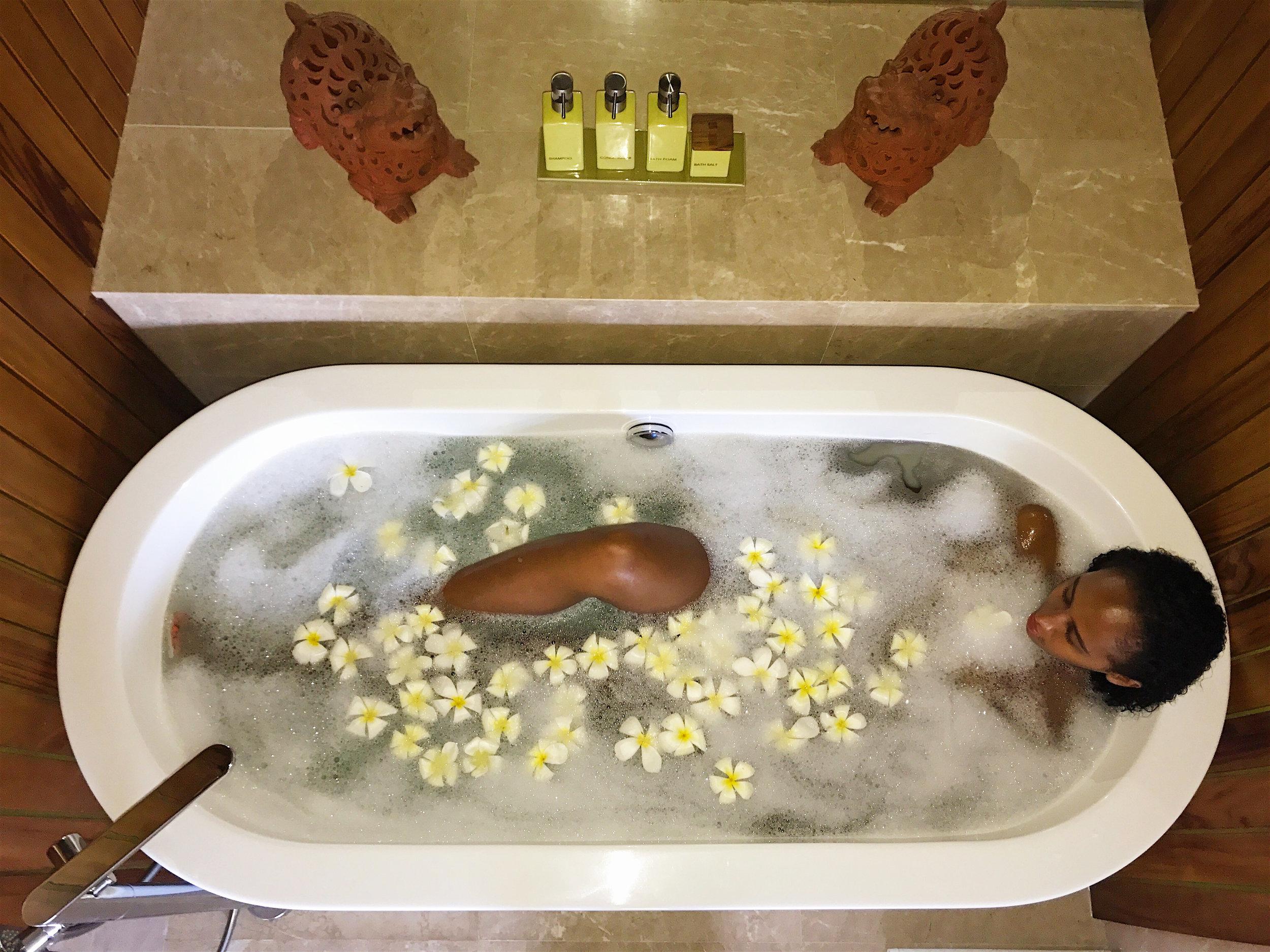 Flower petal bath tub Bali
