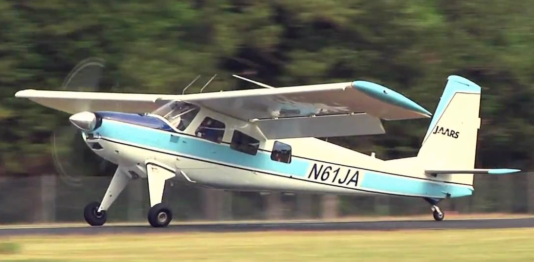 The Helio Courier landing at Townsend Airport in Waxhaw, North Carolina where JAARS trains their missionaries.