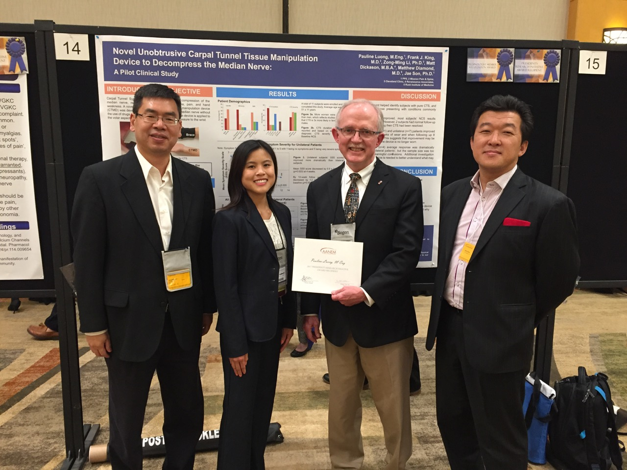 Award Presentation by AANEM President (Photo from L to R: Zong-Ming Li, PhD of Cleveland Clinic, Pauline Luong, ME Lead Author, William S. Pease, MD President of AANEM, and Jae Son, PhD Inventor)