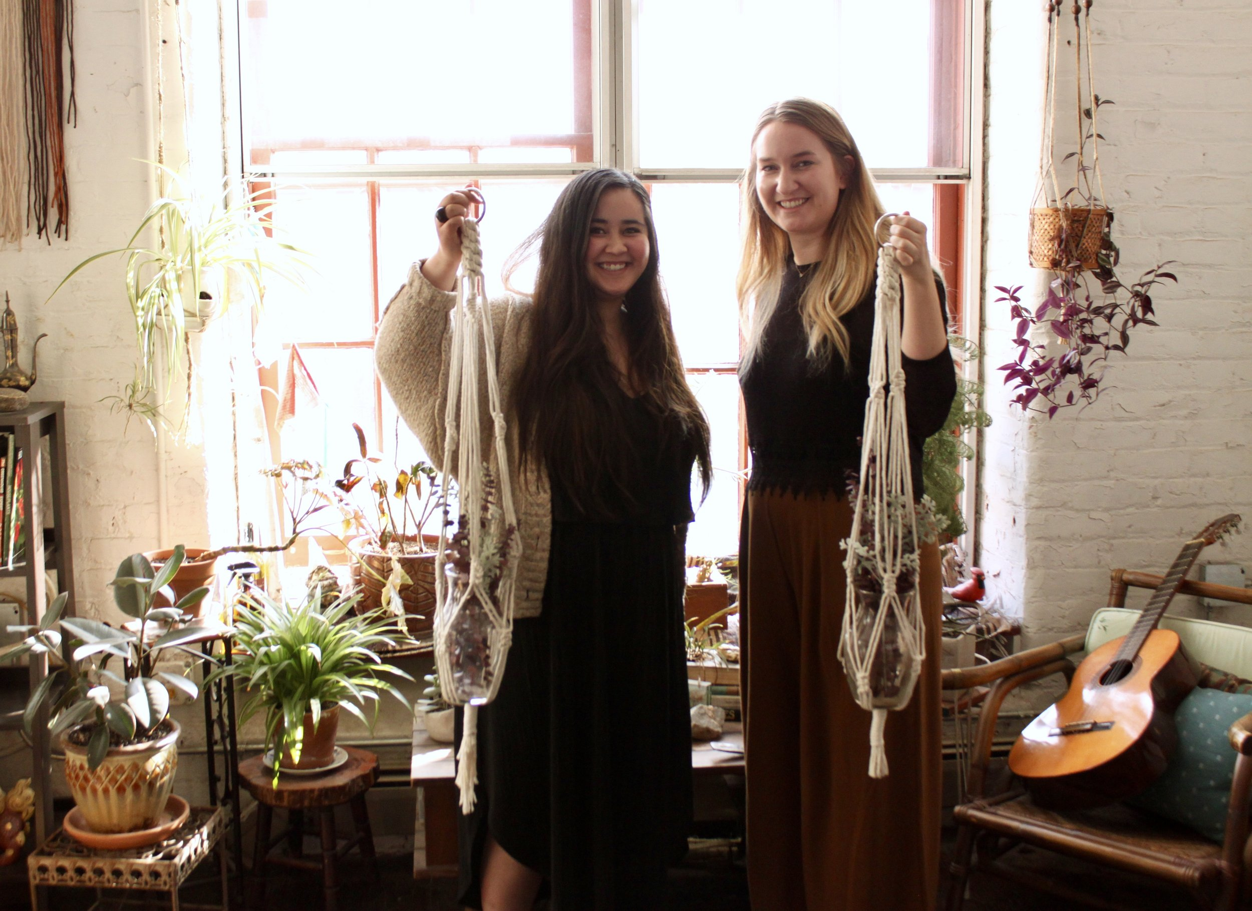 Melia + Emily with their finished plant hangers.