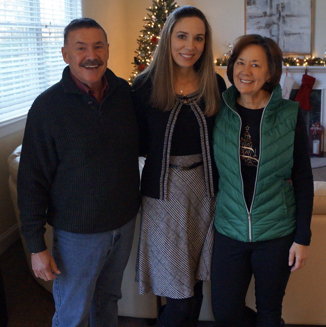 Michelle with her parents during the holidays