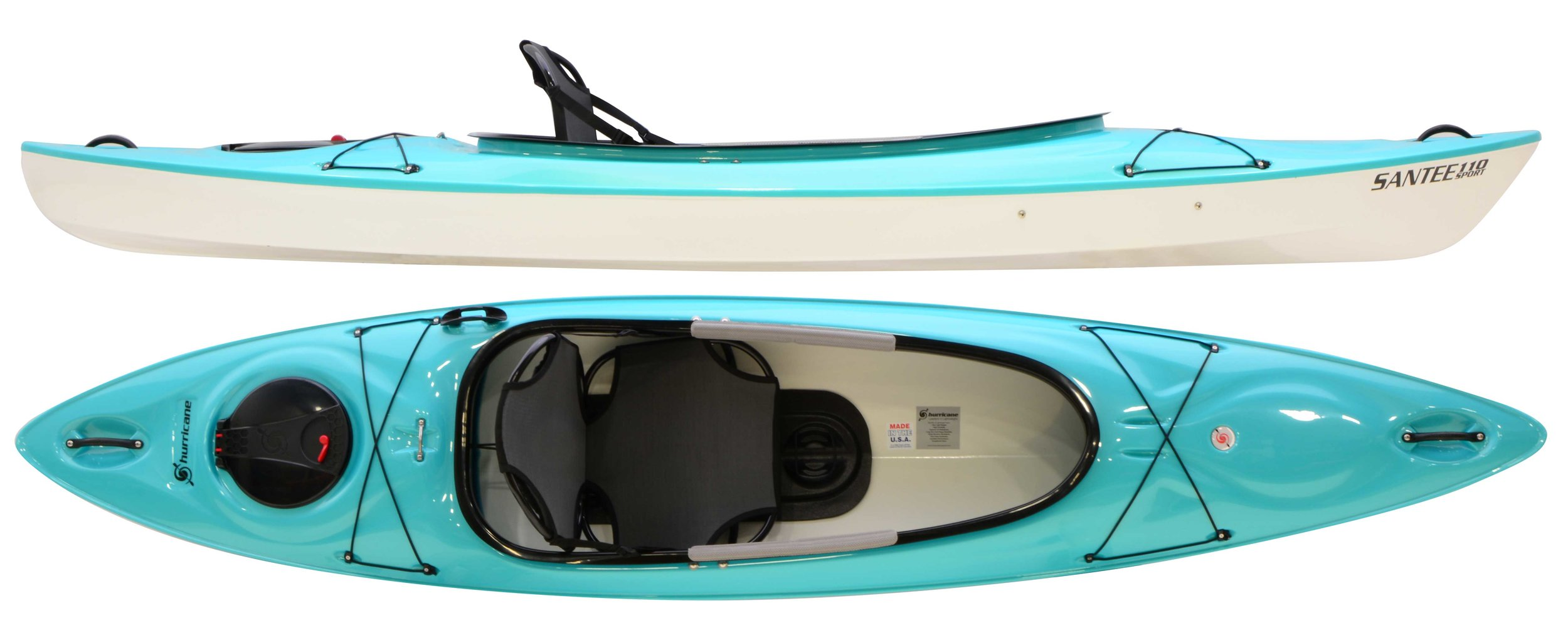Santee 110 Sport:  The Ultimate frame seat has found a comfy home in the NEW Hurricane Santee 110 Sport - a super stable, super lightweight kayak with excellent tracking and stylish aesthetics. Designed with a hard-chined hull for superior performance, a generous sport cockpit for easy entry and exit, a 10-inch hinge hatch for enhanced gear access, and a frame seat for ultimate comfort, the Santee 110 Sport is performance paddling in a relaxing package.
