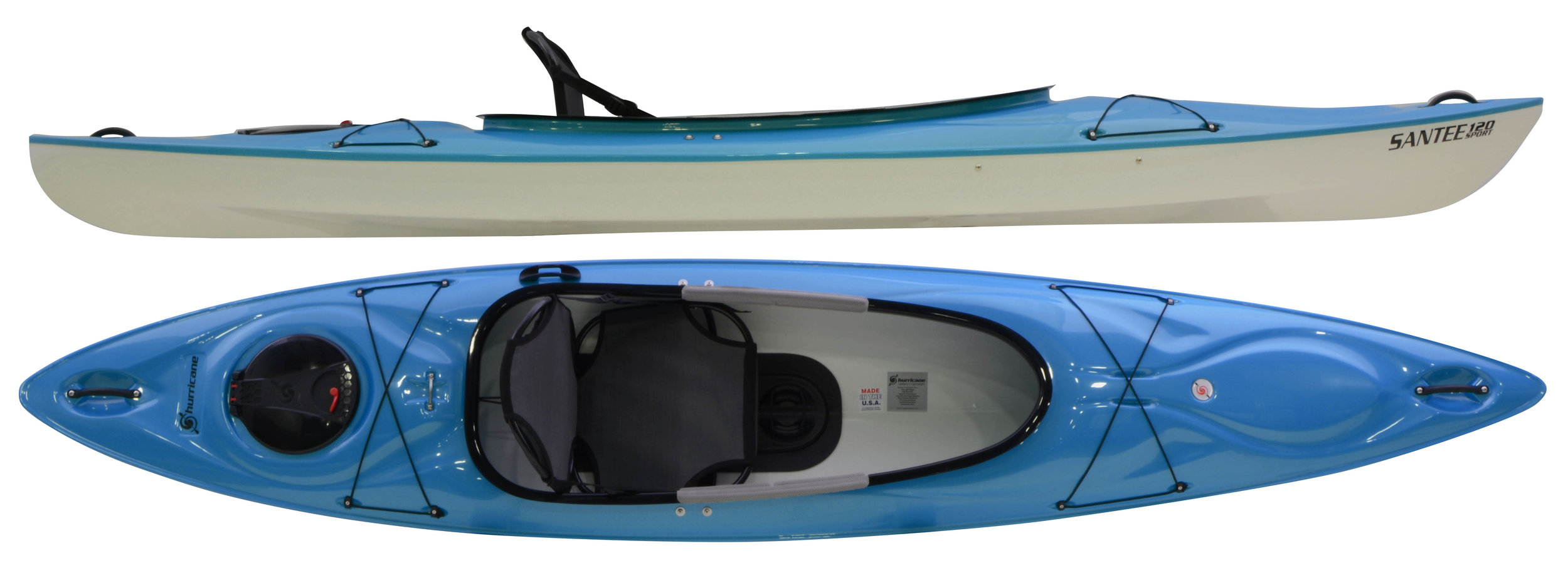 """Santee 120 Sport Ultimate:  Twelve feet of super stable, super lightweight kayak with excellent tracking, stylish aesthetics and - new for 2017 – a First Class Frame Seat for ultimate comfort. Designed with a hard-chined hull for superior performance and a generous sport cockpit for easy entry and exit, the Santee 120 Sport is an amazing recreational kayak. At 12' long and 28"""" wide, the Santee 120 Sport is generous in fit, high on confidence, easy on the back, and kind to the wallet."""