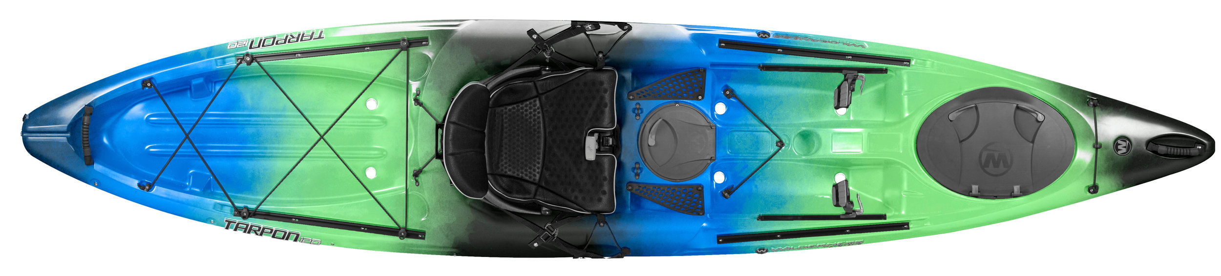 Tarpon 120:  The most popular Tarpon because of its manageable size. Efficient layout leaves plenty of room for paddlers and their gear, with features to accommodate a variety of hobbies.