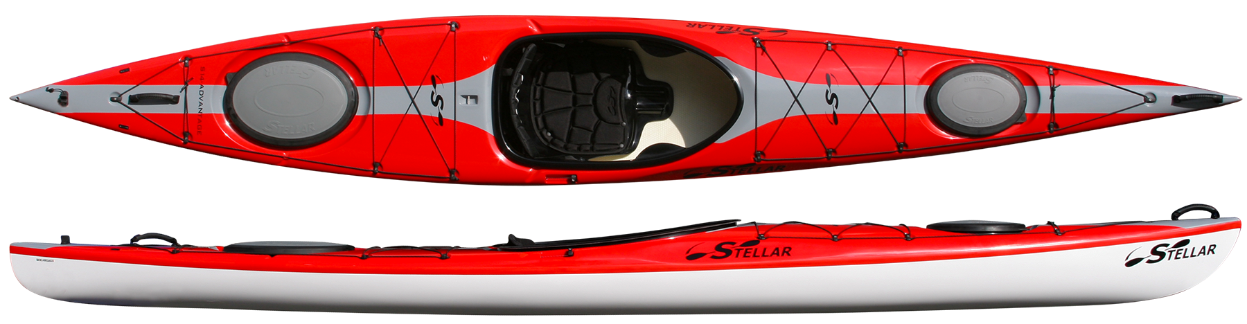S14:  When designing the Stellar 14' (S14) Touring Kayak, we wanted to have a boat that was efficient through the water, yet stable. Unlike any other boat of this length, the S14 has the speed of a much longer boat, but beginners can feel comfortable paddling it. Two water tight hatches allow for ample storage for day and overnight trips, while the retractable skeg in the stern helps with tracking. The S14 comes standard with fittings to upgrade to a rudder steered boat as well. Its short length and light weight make it ideal for those who want a high performance boat, but are short on storage space or frequently car-top their boat.